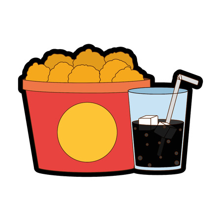 Chicken and soda of fast food urban and tasty menu theme Isolated design Vector illustration.