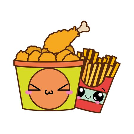 Fast food design with fries and chicken