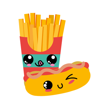 Fries and hot dog of fast food urban and tasty menu theme Isolated design Vector illustration. Vectores