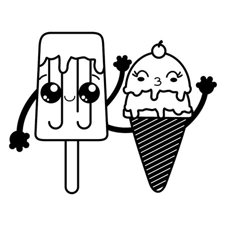 Ice cream of sweet and dessert food theme Isolated design Vector illustration