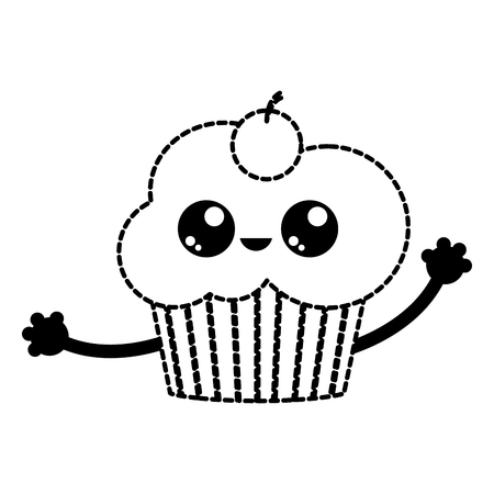 Cupcake of dessert sweet and bakery theme isolated design  illustration.