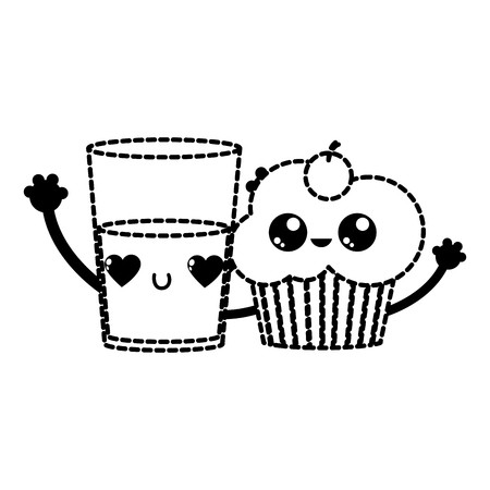 Cupcake and milk of dessert sweet and bakery theme Isolated design Vector illustration