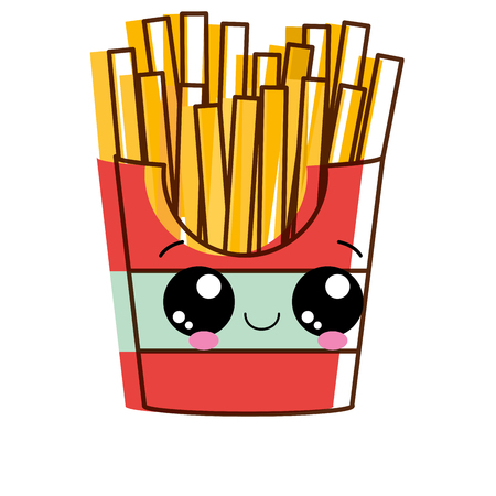 French fries of fast food urban and tasty menu theme Isolated design Vector illustration