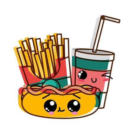 Hot dog drink and fries of fast food urban and tasty menu theme Isolated design Vector illustration