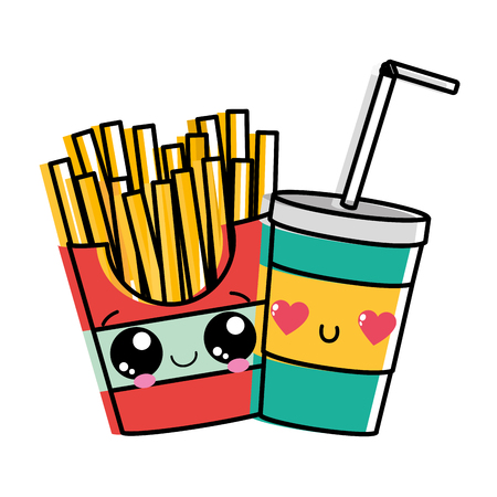 Fries and drink of fast food urban and tasty menu theme Isolated design Vector illustration