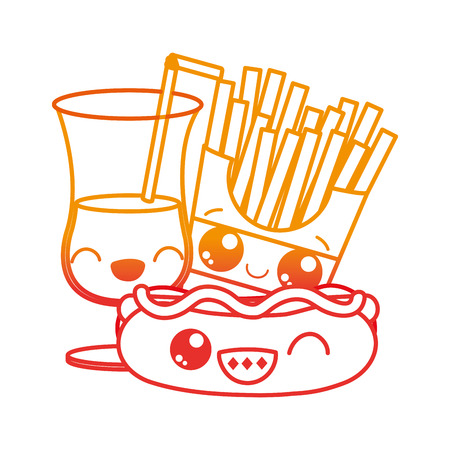 Hot dog fries and drink of fast food urban and tasty menu theme Isolated design Vector illustration
