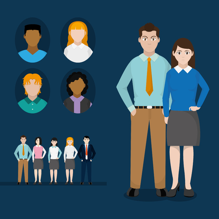Avatar women and men of diversity people and multiracial theme Vector illustration