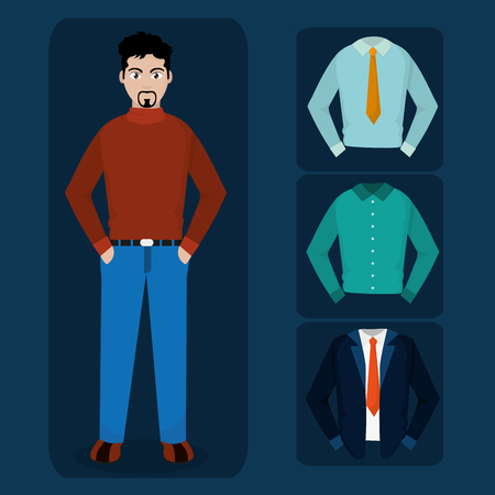 Avatar man and cloths of diversity people and multiracial theme Vector illustration