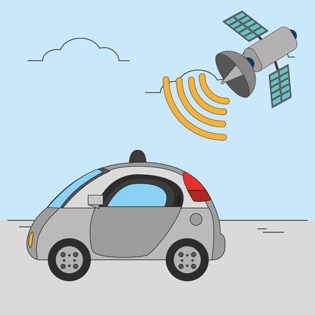 Autonomous car design illustration.