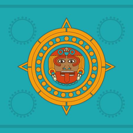 Calendar of maya culture and Mexican landmark theme Vector illustration.