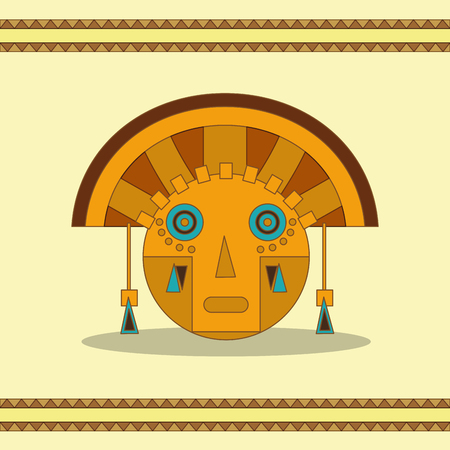Face of maya culture and Mexican landmark theme Vector illustration.
