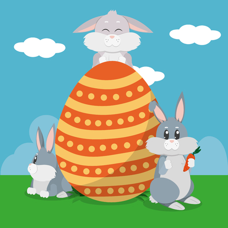 Rabbit cartoon and egg of spring decoration and holiday theme Vector illustration