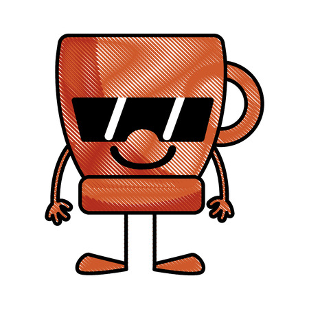 Grated Happy Coffee Cup Kawaii With Arms And Legs