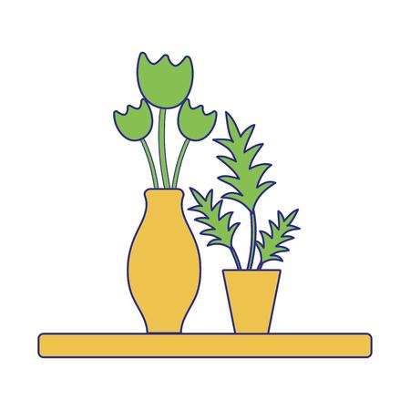 full color wood shelf with flowers inside jar and plants Illustration