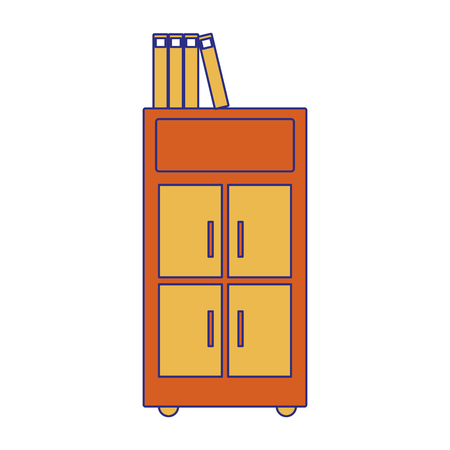 Full color archive cabinet file with books document vector illustration