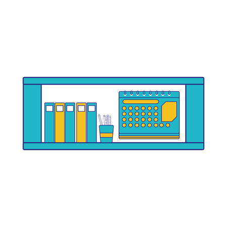 Full color office shelf with folders document and calendar vector illustration Vectores