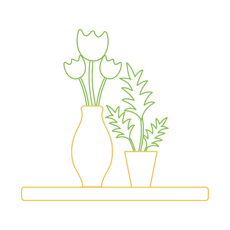 Colored line wood shelf with flowers inside jar and plants vector illustration