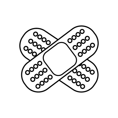 A line band aid adhesive in shape of cross vector illustration Vectores