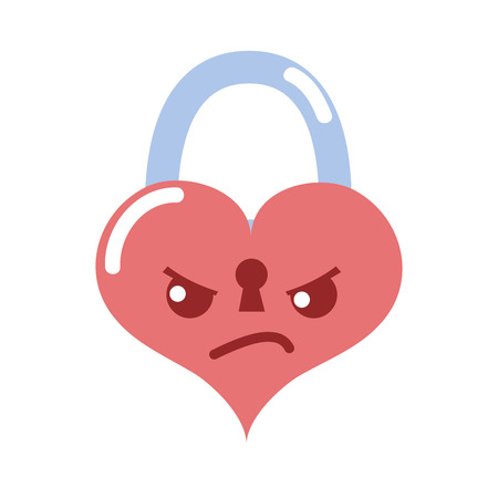 colorful angry heart padlock kawaii personage vector illustration Illustration