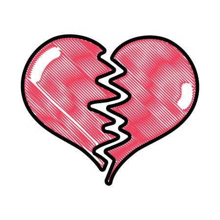 Grated heart symbol of love broken design vector illustration.