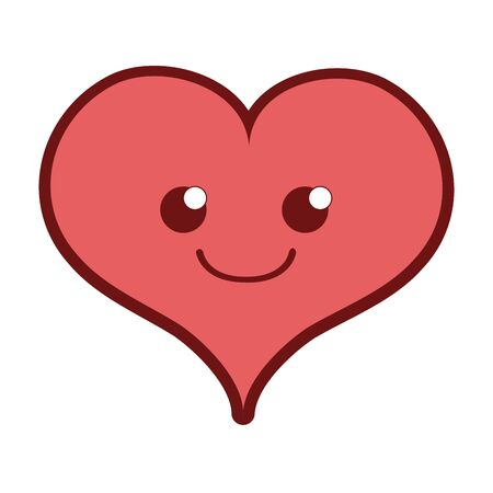 Line color smile heart passion character vector illustration