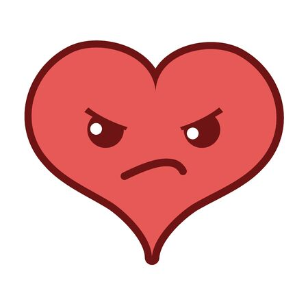 Line color angry heart passion character vector illustration