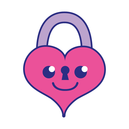 full color smile heart padlock kawaii personage vector illustration