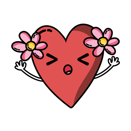 sleeping heart with flowers kawaii with arms vector illustration Illustration