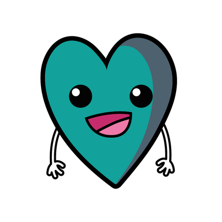 A cute happy heart kawaii with arms vector illustration
