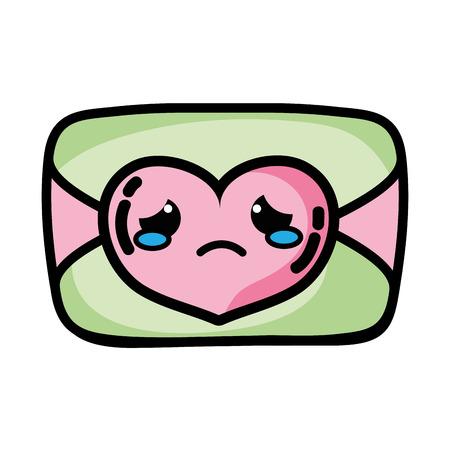 Crying love card cartoon vector illustration  イラスト・ベクター素材