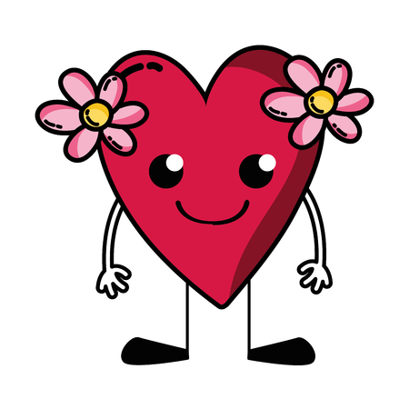 Smile heart with flowers with arms and legs vector illustration