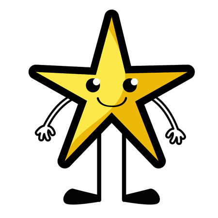 Smile star with arms and legs vector illustration