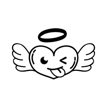line funny heart angel kawaii cartoon vector illustration Illustration