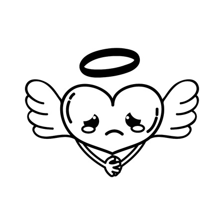 line crying heart angel kawaii with arms vector illustration
