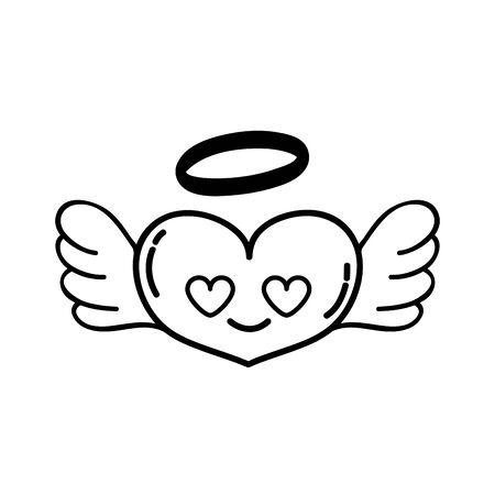 lijn hart engel in liefde kawaii cartoon vector illustratie