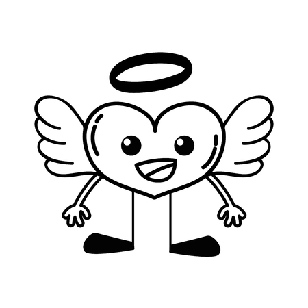 line happy heart angel kawaii with arms and legs vector illustration