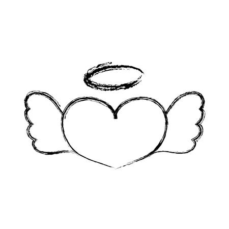 Figuur liefde hart met vleugels en aureool ontwerp