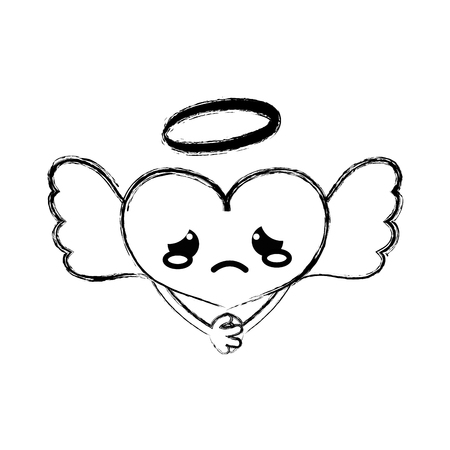 Figure crying heart angel kawaii with arms vector illustration. Illustration