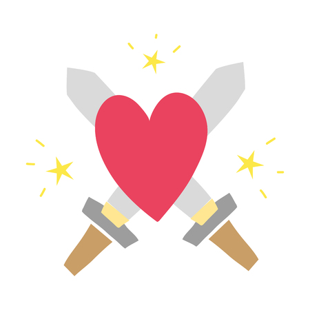 A colorful sworDs medieval weapons with heart and  stars vector illustration