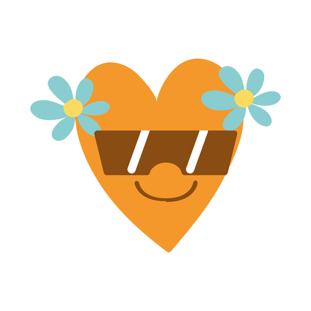 A colorful smile heart with flowers kawaii with sunglasses vector illustration