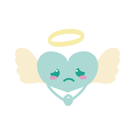 Colorful crying heart angel kawaii with arms vector illustration
