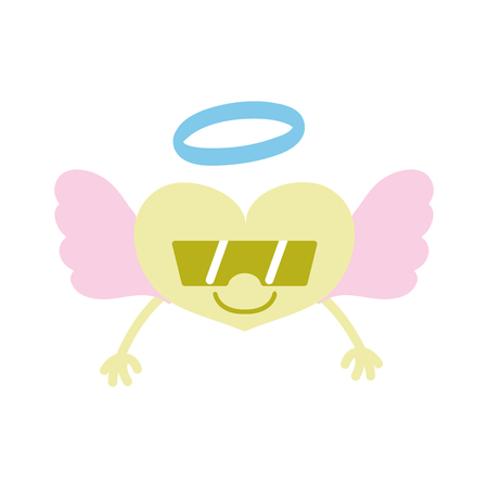 Colorful smile heart angel kawaii with arms and sunglasses vector illustration Illustration