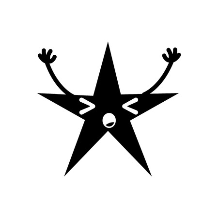 contour sleeping shiny star  with arms vector illustration