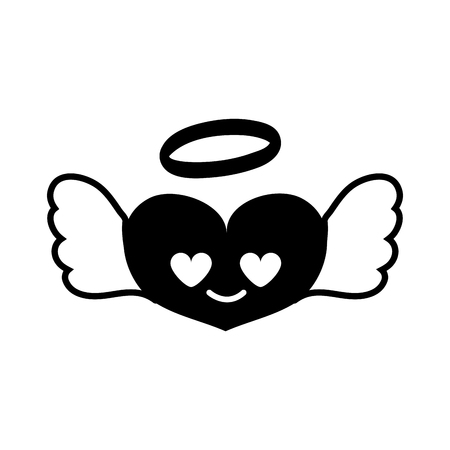 contour heart angel in love kawaii cartoon vector illustration Illustration