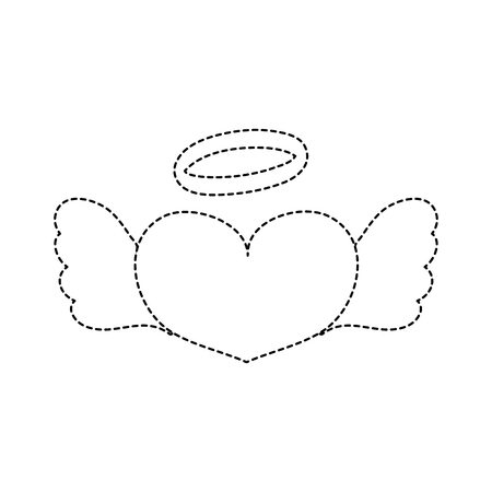 dotted shape love heart with wings and aureole design vector illustration
