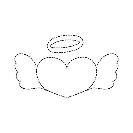 gestippelde vorm liefde hart met vleugels en aureool ontwerp vectorillustratie Stock Illustratie