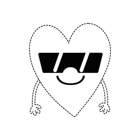 Dotted shape cute smile heart kawaii with arms and sunglasses vector illustration