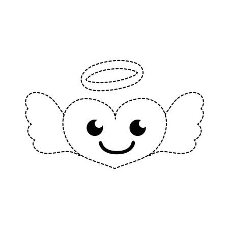 dotted shape smile heart angel kawaii cartoon vector illustration