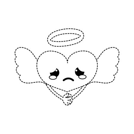Dotted shape crying heart angel kawaii with arms vector illustration Illustration