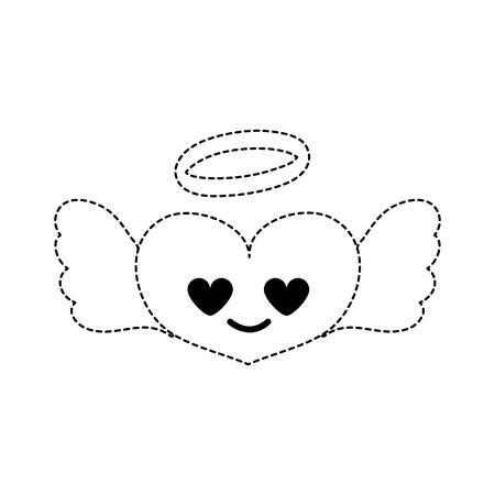 Dotted shape heart angel in love kawaii cartoon vector illustration